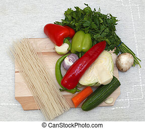 Pasta and vegtables - Upper view of various vegetables and...