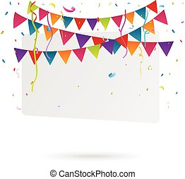 Bunting flags banner with happy - Vector Illustration of...
