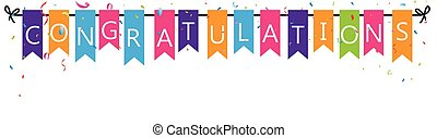 Congratulations with bunting flags - Vector Illustration of...