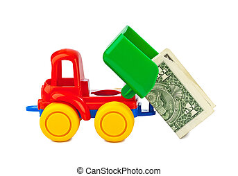 Toy truck with money - Toy car truck with money isolated on...