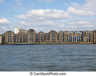 London docks - Docks in London Docklands on River Thames, UK