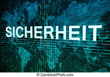 Sicherheit - german word for safety or security text concept...