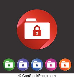 Secure locked folder icon flat web sign symbol logo label