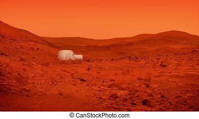 Small Base On Mars In Dust Storm - Small living unit on Mars...