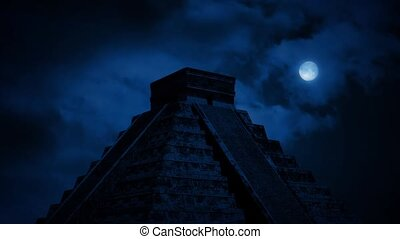 Aztec Pyramid In Jungle At Night - Large Aztec pyramid in...