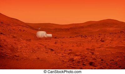 Base On Mars With American Flag - Small living unit on Mars...