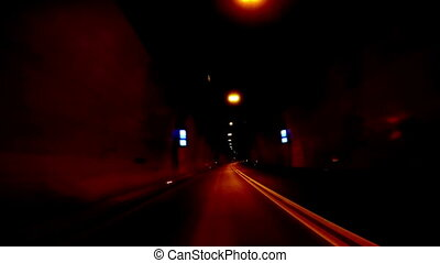 Fast Driving through a tunnel_fj - ion blur and glow, full...