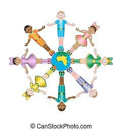 Feliz, diferente, raças, círculo, crianças