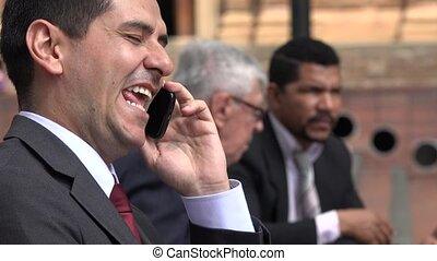 Happy Laughing Business Man Talking On Phone