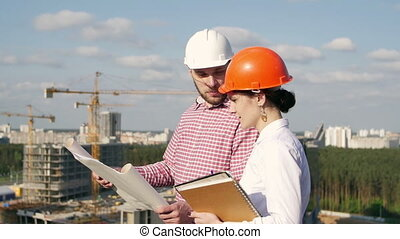 Architect and engineer discussing the project - Architect...