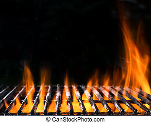 Empty grill grid with fire - Empty grill grid in fire with...