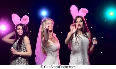 Fun girls at bachelorette party dancing. Slow motion - Fun...