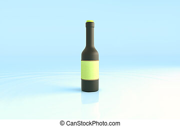 Black bottle with green label - Black bottle with blank...