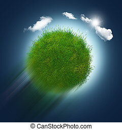 3D grassy globe zooming through the sky - 3D render of a...