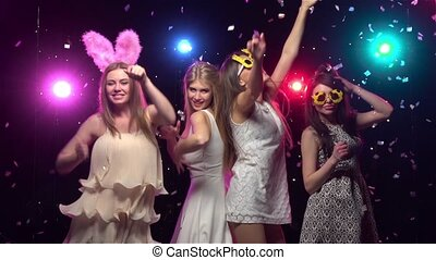 Girls at bachelorette party dancing and having fun. Slow...