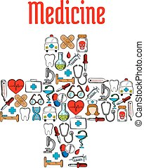 Medicine symbols in a shape of medical cross