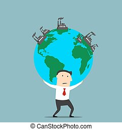 Businessman carrying earth with industrial plants - Cartoon...