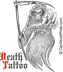 Dreadful grim reaper with scythe pointing at viewer