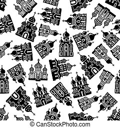 Seamless churches, temples, cathedrals pattern - Black and...