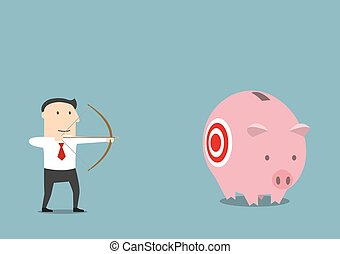 Businessman hunting for someone elses piggy bank - Cartoon...