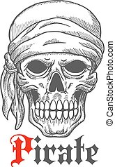 Pirate sailor skull in bandana sketch symbol - Creepy pirate...