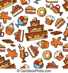 Chocolate desserts and pastries seamless pattern - Chocolate...