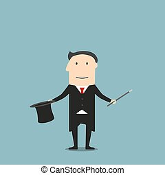 Magician showing tricks with magic wand and hat - Cartoon...