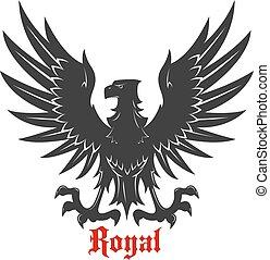 Black eagle attacking a prey heraldic icon - Black eagle...
