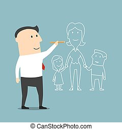 Businessman dreaming about family and love - Cartoon...