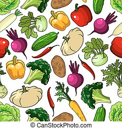 Fresh picked vegetables seamless pattern