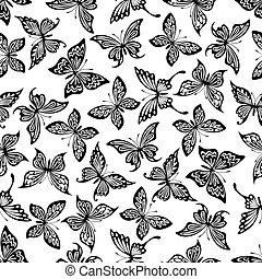 Black and white butterflies seamless pattern - Decorative...