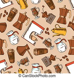 Seamless coffee pots and cups pattern background - Retro...