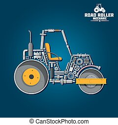 Road tandem roller icon with mechanical details - Road...
