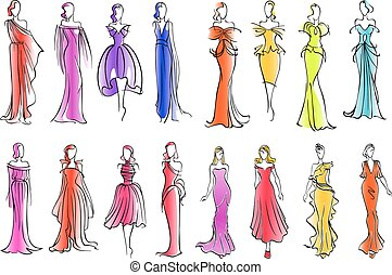 Fashion models in colorful dresses, sketch style -...