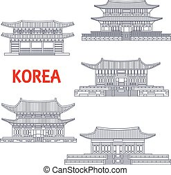 Five grand palaces of South Korea thin line symbol - Korean...