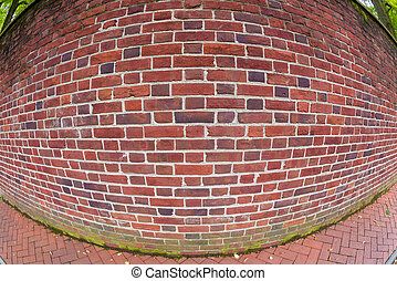 Just a brick wall with a fish eye lens - Bent prespective of...