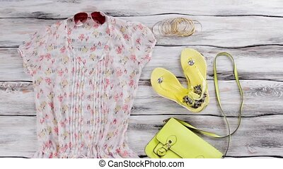 Summer blouse and flip flops. Lime purse and bracelet set....
