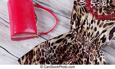 Leopard dress and red heels. Bright red purse and shoes....