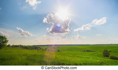 Summer landscape and the sun, panoramic time-lapse