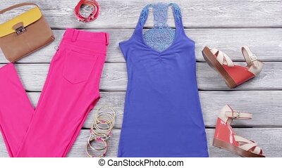 Pink trousers and blue top. Wedge sandals and bracelet set....