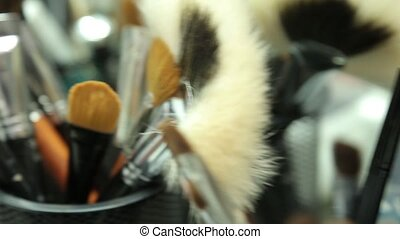 Brush set for make-up. Dynamic change of focus. Close up -...