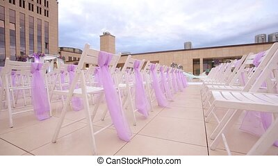 Wedding aisle decor. Outdoors wedding ceremony. Close up