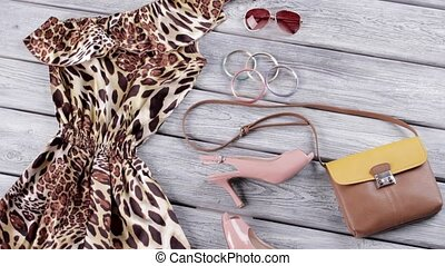 Leopard dress and heel shoes. Open toe heels and purse. New...