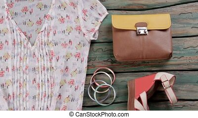 Summer blouse and sunglasses. Colorful bracelet set and...