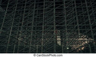 Multiple metal scaffolding zoom in video - Steel scaffolding...