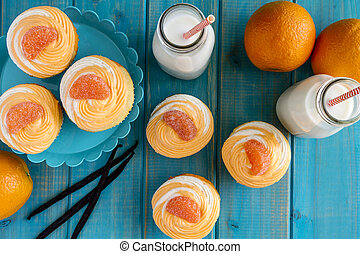 Orange Vanilla Bean Swirled Cupcakes - Orange and vanilla...