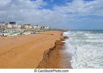 Brighton beach on a windy day, United Kingdom