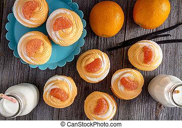 Orange Vanilla Bean Swirled Cupcakes - Orange and vanilla...
