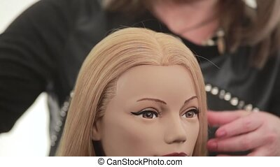 Hair is divided in half Hairstyle for long white hair Close...
