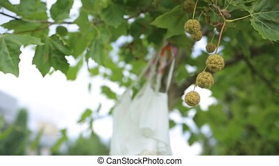 White wedding dress hangs on clothes for hanger on the...